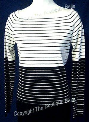 SIZE 4-6 ANN KLEIN Sensual stripped light top sweater