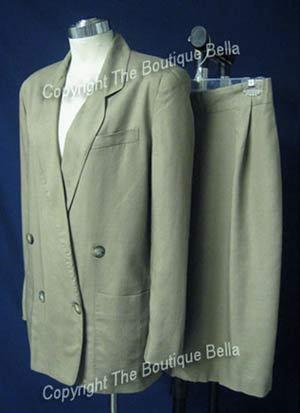 SIZE 4 - 6 JONES NEW YORK Career Beige Doublebreasted jacket skit suit