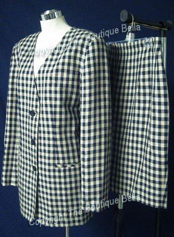 SIZE 8 -10 CASUAL CORNER Plaid Blue Taupe career skit suit