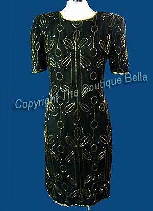 SIZE 6 - MED  COCKTAIL Black Gold Beaded Formal Dress