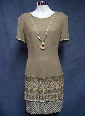 Size 6-8 FALL Taupe Ethnic  Light career work dress