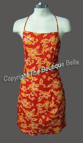 Size Med Jr - VACATION Orange Floral Beach dress Med Jr