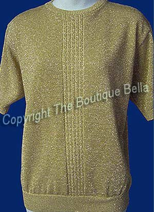 Size Med- HOLIDAY Cocktail Evening  Gold Sparkles Blouse Top