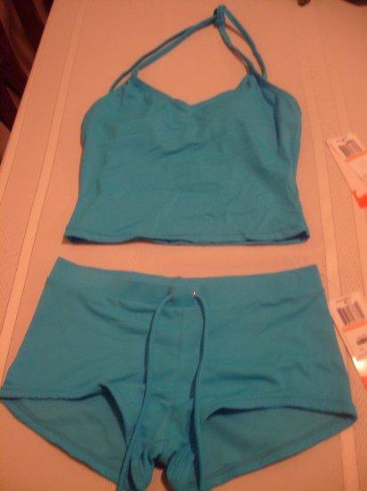 Small Hula Honey Blue Tankini 2-piece Bathing Suit