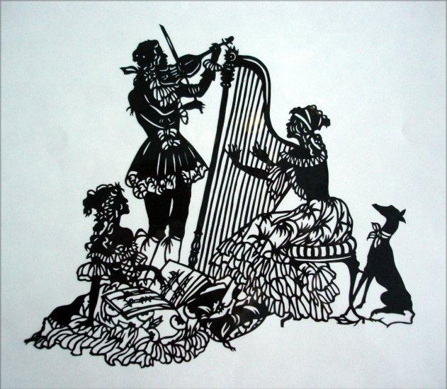 Silhouette Scherenschnitte (Paper Cut/Papercut) - Harp & Violin Duo -> Playing Classic Music