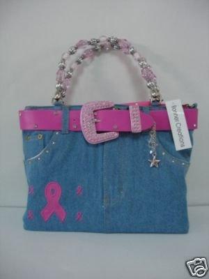Breast Cancer Awareness, Find the Cure, Denim Purse