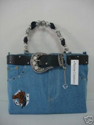 horse purse denim jean booty bag or purse, western