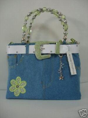 Denim bag or purse, green flower spring colors