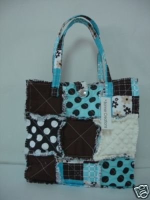 Rag Purse, Blue Patchwork Purse, Rag Bag Tote, Quilted