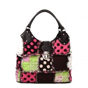Canvas Trendy Patchwork Purse, Polka Dot Patch Work Rag