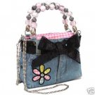 Denim Blue Jean Purse with Flower