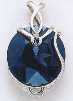 Swarovski Crystal Pendant, Navy Blue Platinum Finish