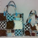 Quilt Purse, Patchwork Tote, 2pc Set, Cotton Rag Bag