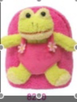 Kids Frog Backpack, Plush Pink with Removable Frog