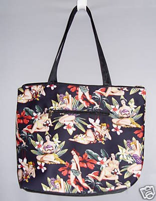 Black Pin Up Vintage StyleTropical Floral Tote Bag