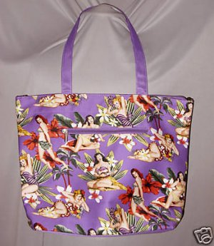 Purple Pin Up Vintage StyleTropical Floral Tote Bag