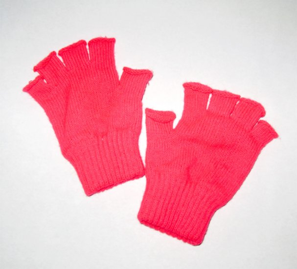 Vintage 80's New Wave Fingerless Gloves - Neon Hot Pink