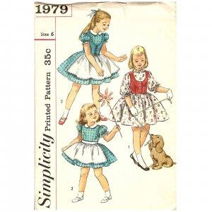 Vintage Sewing Pattern - Children/ Girls 1950s - Simplicity Size 6