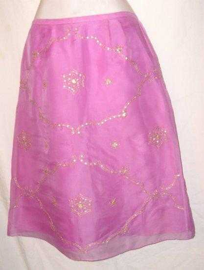 Ann Taylor Fucshia Silk Skirt w/ Gold Embriodery Sz 8