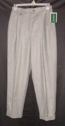 Lauren Ralph Lauren Gray Cuffed Pants / Slacks Sz 12 NWT