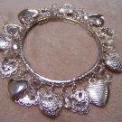 Silver Heart Dangle Stretch Bracelet
