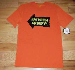 NEW Men's Large - Halloween Tshirt Tee (I'm with creepy!)
