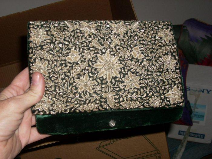 vintage green velvet bag