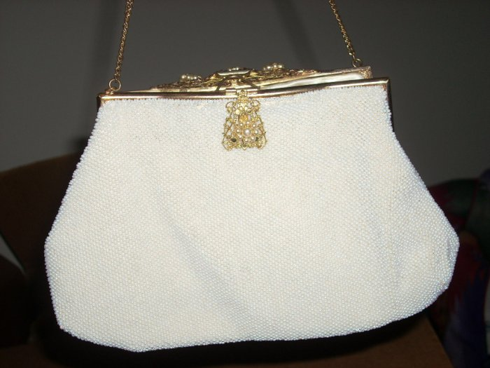 vintage french made beaded purse