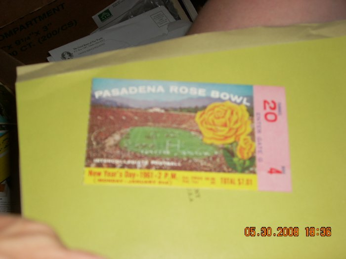 1961 rose bowl ticket stub washingon vs minnesota