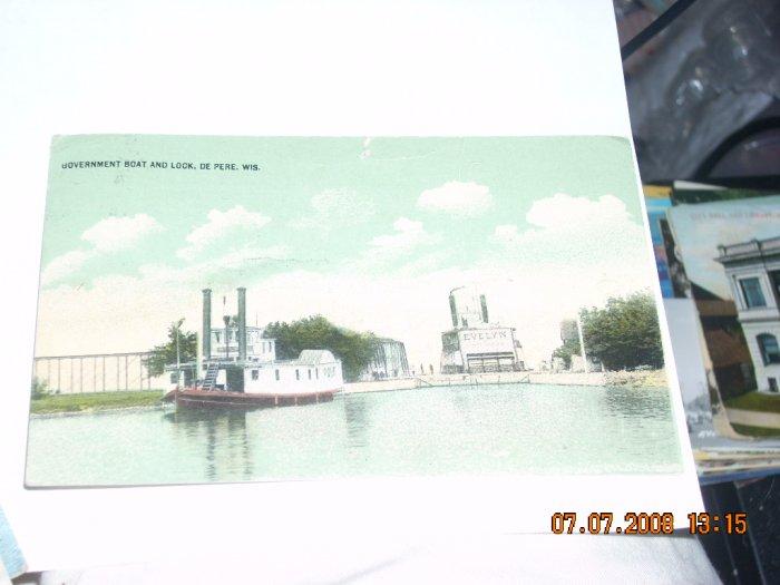 vintage postcard govt boat and lock de pere wisconsin
