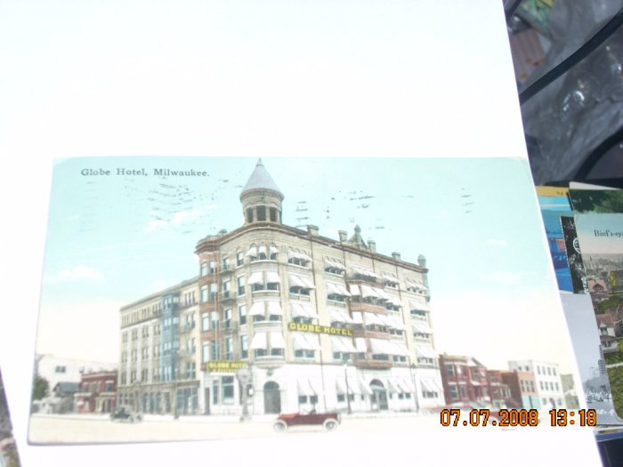 vintage postcard globe hotel milwaukee wisconsin