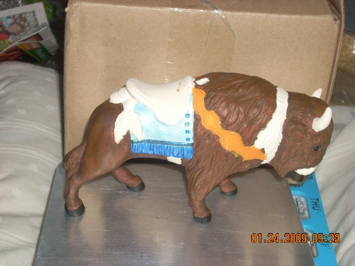 ceramic buffalo carousel animal with pole