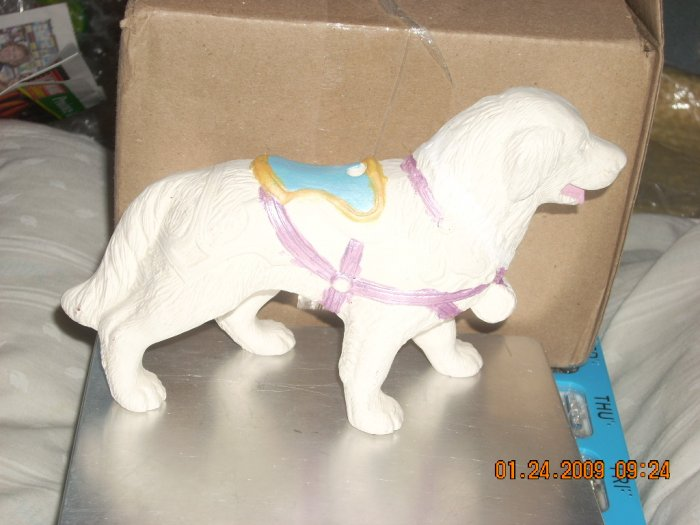 ceramic st bernard carousel animal with pole
