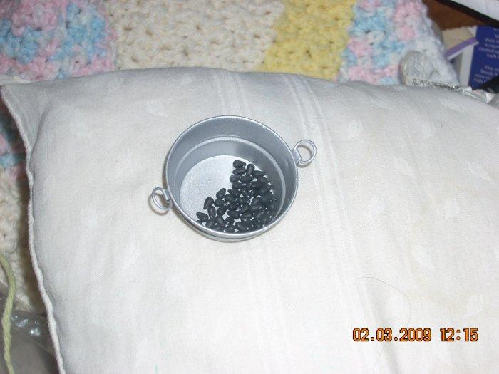 tiny teardrop beads 3 by 5 mm  dollhouse miniatures black matte