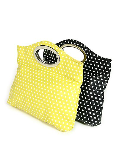 Trendy Yellow & White Polka Dot Handbag with Silver Handles ~ Just7even
