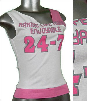 Sporty Print Tee Stretchy Tank Top White Pink Grey sz M   ~ Just7even