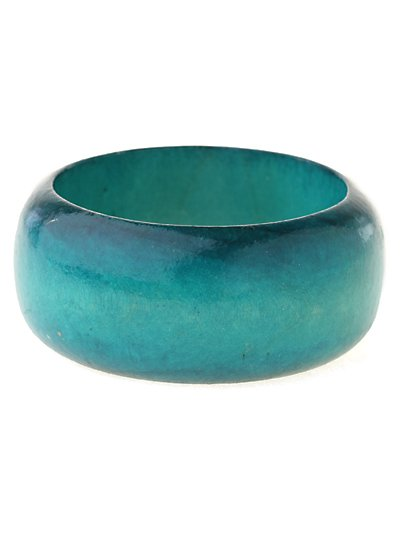Turquoise blue, wood bangle bracelet. ~ Just7even