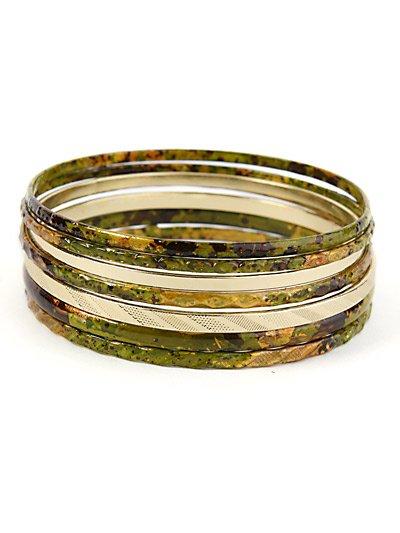 Gold tone and olive bangle stackable bracelet set.  ~ Just7even