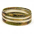 Gold tone and olive bangle stackable bracelet set.  ~ Just7even