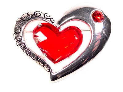 Etched Brushed Silver Brooch Big Red Gem Heart Jewelry � Lovely Valentine's Day  � Just7even