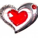 Etched Brushed Silver Brooch Big Red Gem Heart Jewelry * Lovely Valentine's Day  * Just7even