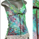 ❤ BEAUTIFUL PAiSLEY & Glitter TUNIC Tank Top Blue sz L * Juniors Clothing Fashion * Just7even