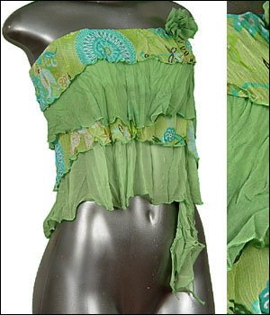 � Sexy Sheer Midriff Ruffle Tiered Tube Top Green sz L � Juniors Clothing Fashion � Just7even