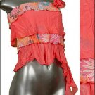 ❤ Sexy Sheer Midriff Ruffle Tiered Tube Top Pink sz Med * Juniors Clothing Fashion * Just7even