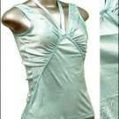Pretty Satiny String V-Neck Halter/Tank Top Blue size L * Juniors Clothing Fashion * Just7even