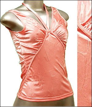 Pretty Satiny String V-Neck Halter/Tank Top Pink size M � Juniors Clothing Fashion � Just7even