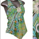 ❤Sexy Asymmetrical Halter Tunic Top Green Retro Print S * Juniors Clothing Fashion * Just7even