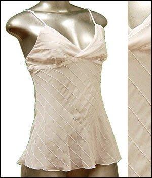 Sexy & Classy Sheer Tunic Tank Top w Sequins White sz M � Spaghetti Strap Suplice � Just7even