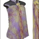 Gorgeous Pleated Women's Tunic Halter Top Purple sz L * Beautiful Dressy Sheer * Just7even