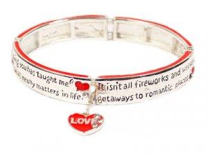 Silver Inscribed Valentine Day Red Heart Charm Bracelet